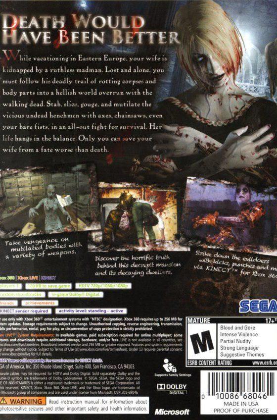 خرید بازی Rise of Nightmares برای کنسول Xbox 360 Kinect