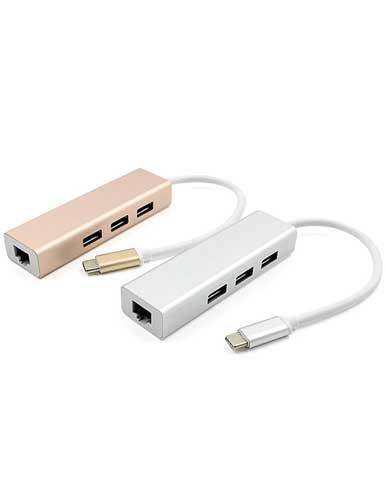 هاب USB-C به USB 3.0/ Ethernet سه پورت مدل METAL-AL