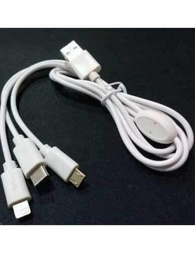 کابل تبدیل USB به لایتنینگ/USB C/microUSB اسزون مدل aio 100 طول 1 متر