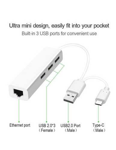 هاب 3 پورت USB C مدل OTN 8802