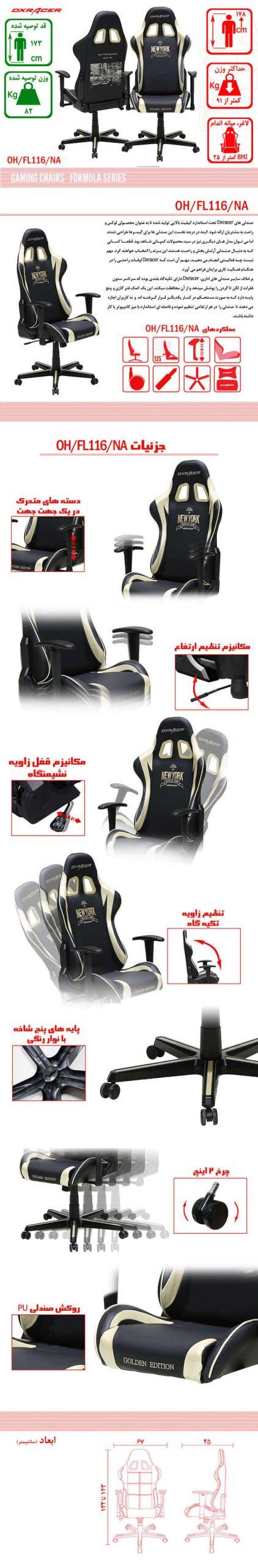 صندلی گیمینگ DXRACER سری فورمولا OH FL161 NA Newyork